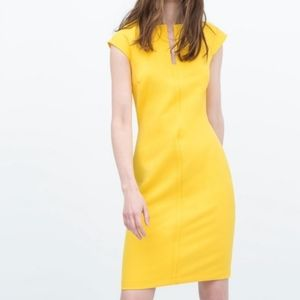 Zara yellow sleeveless midi dress